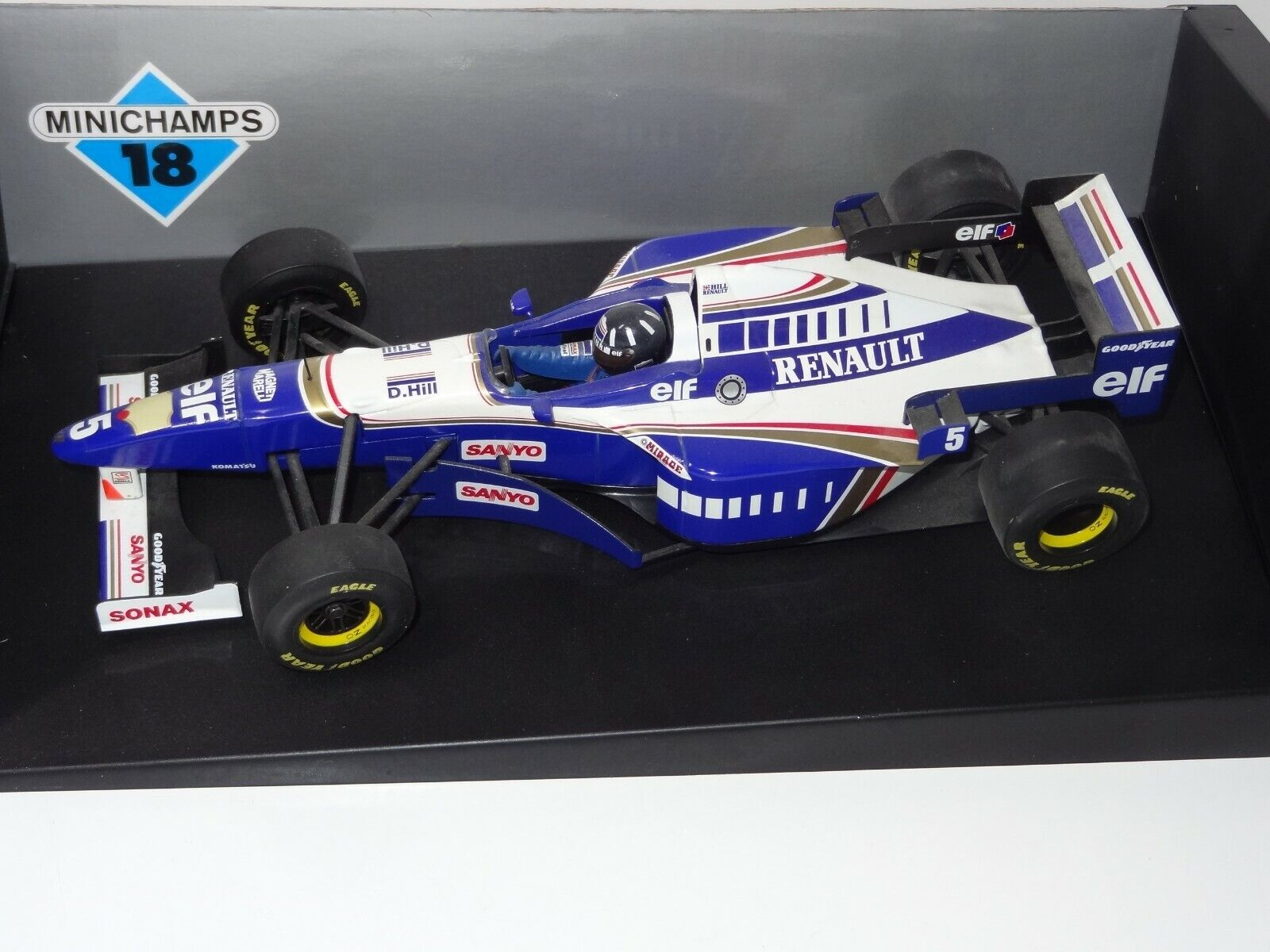 (W) Pauls model art Minichamps 1 18 F1 WILLIAMS RENAULT FW 18 D Hill Comme neuf boxed