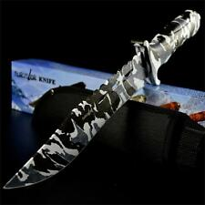 """12"""" CAMO TACTICAL HUNTING MACHETE SURVIVAL KNIFE Army Bowie FIXED BLADE + SHEATH"""