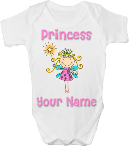 GRO //BODYSUIT *GREAT GIFT /& NAMED TOO * PRINCESS FAIRY PERSONALISED BABY VEST