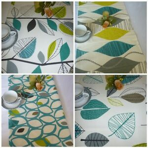 Image Is Loading Retro Teal Table Runner Blue Lime Green Coffee
