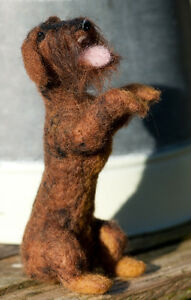 Dachshund-Teckel-Wire-Haired-Needle-Felted-OOAK-now-sold-Example-Only