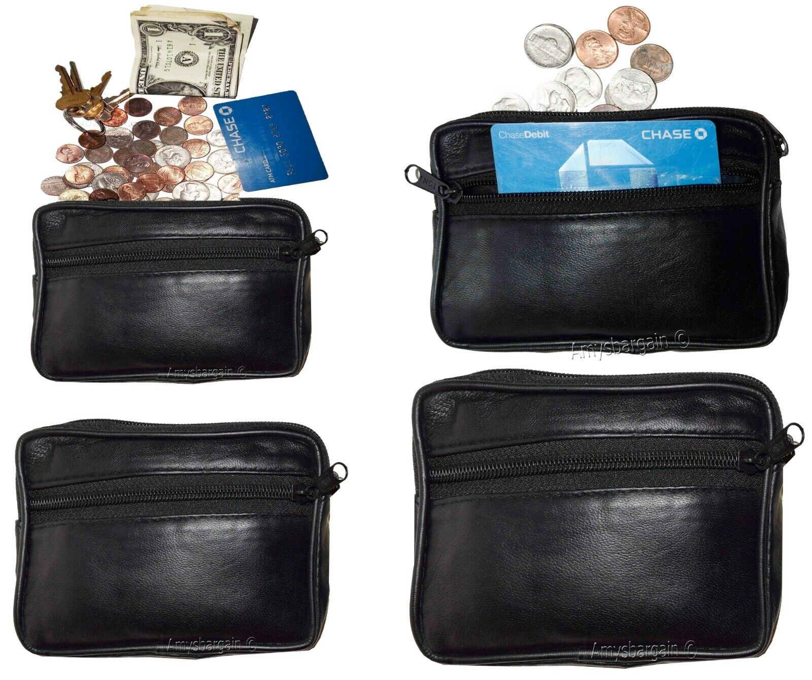 Lot of 4. Coin cases, Lambskin Leather Change purse 3 zip pockets + Key ring BN