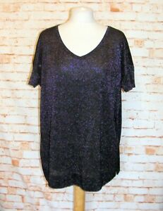 Next-party-jumper-size-14-short-sleeve-cutout-back-oversize-fit-sparkly-black