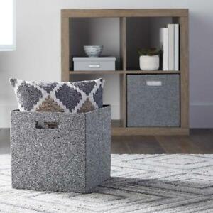 Cube-Storage-Basket-Bins-Organizer-Container-Fabric-Shelf-Foldable-Set-2-NEW