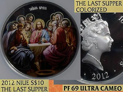 "2012 5oz silver Colorized NIUE  /""THE LAST SUPPER/"" $10 Orthodox Coin"