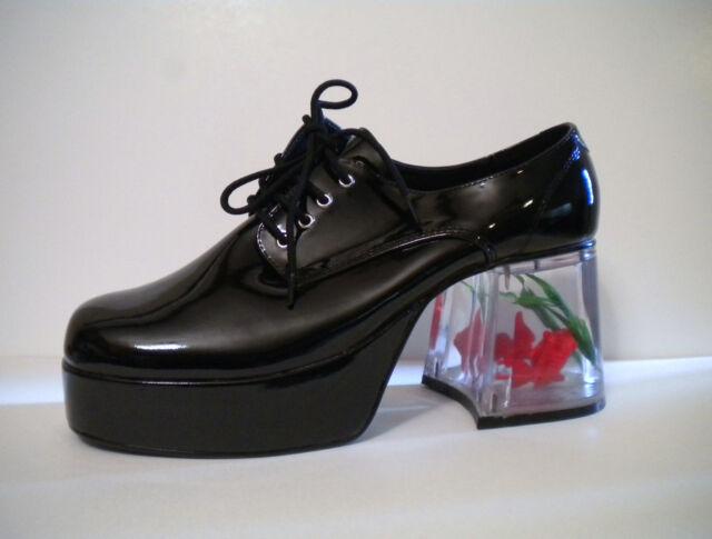 Black Platform 70s Pimp Daddy Disco Mens Costume Shoes Clear Fish size 8 9 10 11