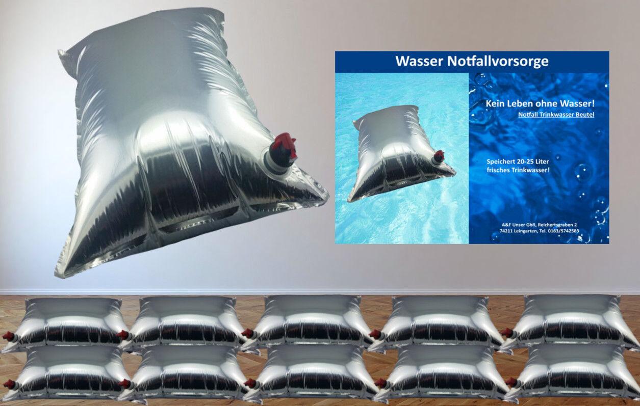Wasserbeutel Prepper 10er Set 10 x 20 Liter Notfall-Wasser-Vorsorge
