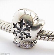 WINTER SNOW MITTEN CHARM Bead Sterling Silver.925 for European Bracelet 848