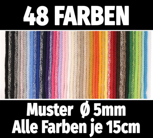 5m baumwollkordel Ø 3//5mm € 0,25//m 8mm € 0,64//m cordel algodón cuerda 48 colores