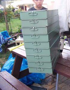 SAFE-DEPOSIT-BOX-METAL-DRAWER-SAFETY-BANK-TRAY-CASE-VINTAGE-10x3x21-5