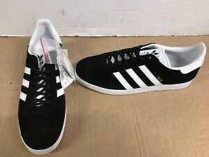 new product 2239d 2c649 Image is loading Adidas-Gazelle-Mens-Black-White-Suede-Leather-Trainers-