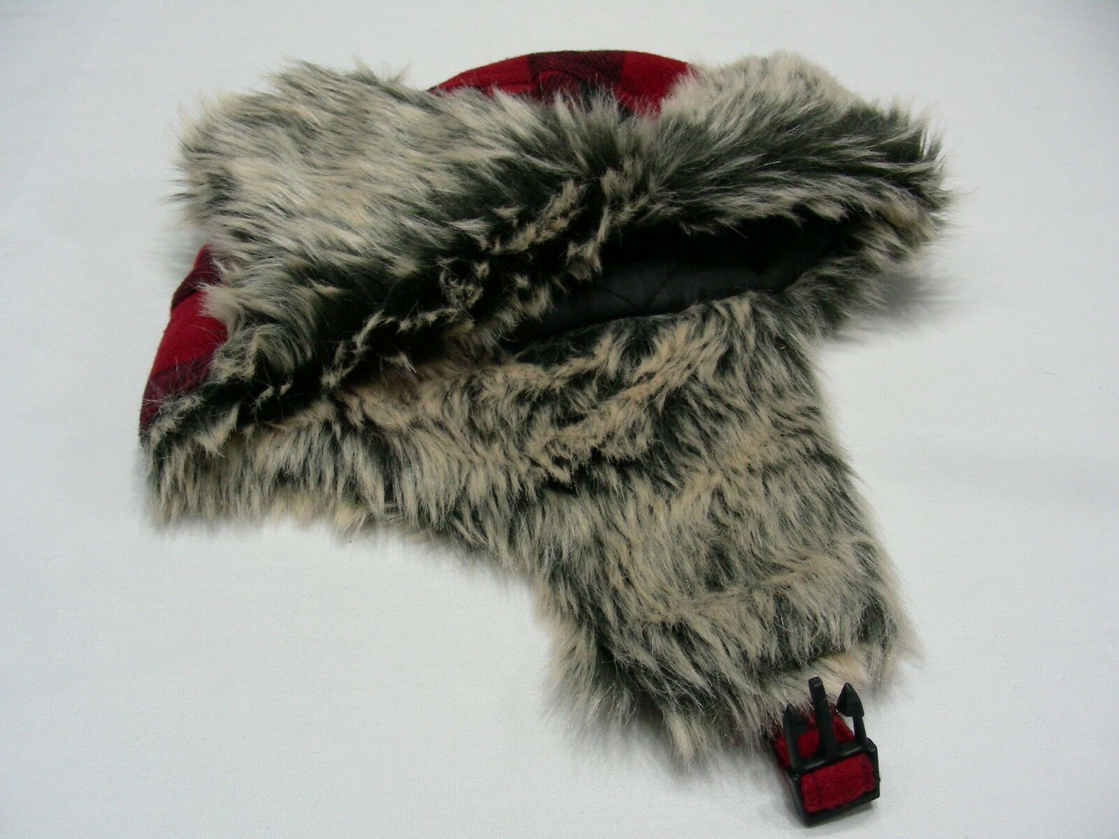 RED & SIZE BLACK CHECKS - ONE SIZE & - POLYESTER BLEND - TRAPPER AVIATOR STYLE CAP HAT 096be1