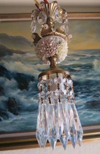 1o5 Porcelain Beaded crisantemos Brass chandelier Swag vintage lamp crystal mini