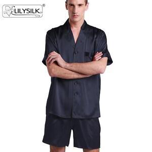 Men Short Silk Pajama Set 22 Momme Contrast Trim 100% Mulberry Silk ... e94da81fd