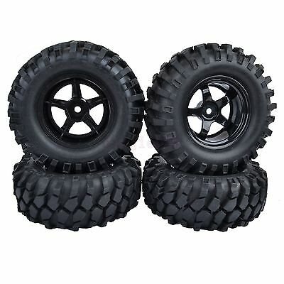 4PCS 96mm RC 1:10 Off-Road Car Beach Rock Crawler Tires Tyre 9mm Offset Wheel