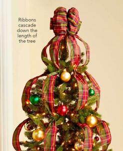 Cascading Tartan Plaid Wired Ribbon Christmas Tree Topper