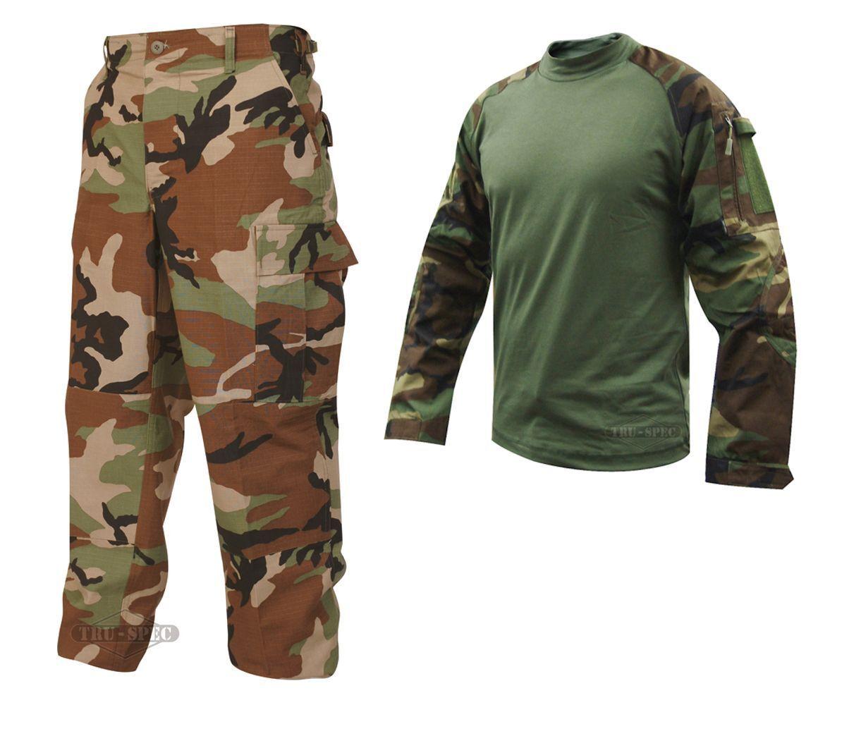 Tru-Spec Woodland Combat Shirt BDU Pants Ripstop Mil-Spec Camoflauge