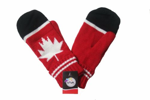 CANADA WINTER RED WHITE BLACK WITH MAPLE LEAF GLOVES .. NEW
