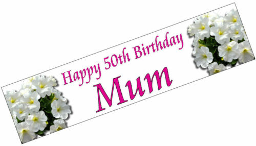 PERSONALISED BANNERS NAME AGE PHOTO BIRTHDAY PARTY 90th 80th 70th 60th white P1