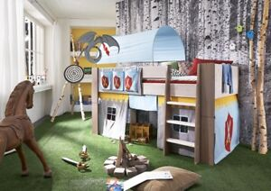 Kinderzimmer junge ritter  Hochbett Kinderbett Ritter Tunnel Vorhang Kinderzimmer Kiefer massiv ...