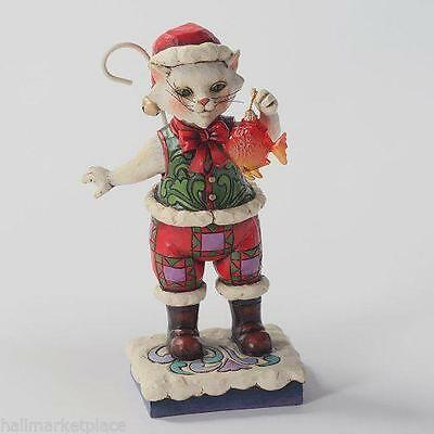 Jim Shore Catch the Christmas Spirit Cat Holding Fish Figure 4027766