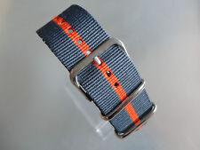 Uhrenarmband  Nylon grau orange grau 24 mm NATO BAND Dornschließe Textil