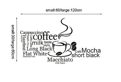 Coffee Cake Shop Cafe Window Wall Stickers Vinyl Sign Decal Business Decor Art