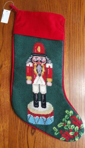 NEW Nutcracker Christmas Needlepoint Stocking personalize green red holiday wool