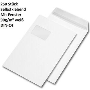 250 Versandtaschen Mit Fenster 90g M Selbstklebend In Weiss Din C4 C4 Umschlag Ebay
