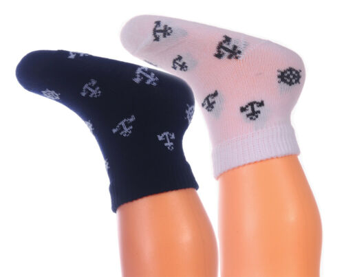 Socken Strümpfe Baby Kinder Söckchen mit Anker Muster Navi Weiß Maritime Look