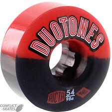 "RICTA ""Duo Tones"" Skateboard Wheels 52mm 98a Black RED Duotones ""2 Tone"" Park"