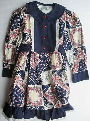 Heart On Back Elegant Appearance New By Designer Peppermint Dress 3/4y Navy Red Heart Buttons