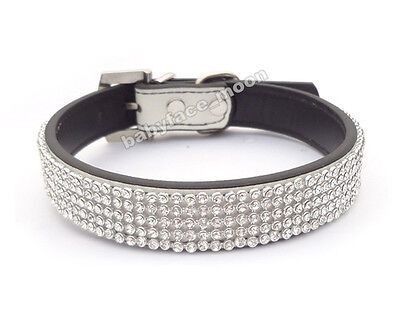 Bling Rhinestone Dog Collar Crystal Diamond Pet Cat Dog Puppy Leather Collar