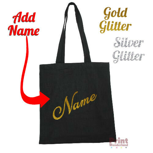 Personalised Canvas Tote Bag GLITTER Custom ADD NAME Party Favour School Bag