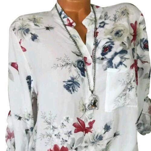 Women Casual High Collar Long Sleeve Buttons Blouse Loose Summer Shirt Sanwood
