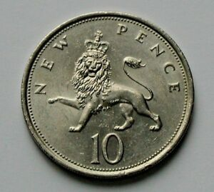 1975 Uk British Coin 10 New Pence 10p Toned Lustre Crowned Lion Animal Ebay