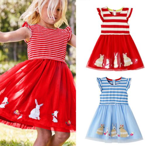 Easter Children Kids Baby Girl Rabbit Princess Dress Striped Tulle Dress Outfits