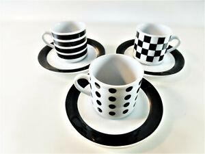 3 x Eduscho Espresso Tassen Vintage Kaffee Tasse Cafissimo schwarz weiß