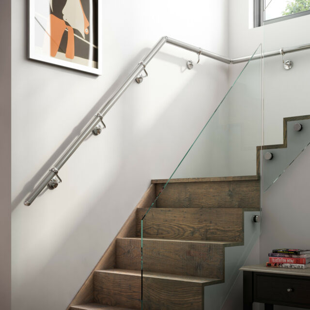 1.8mtr Brushed Nickel Metal Wall Mounted Handrail / Banister + all Fittings