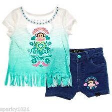 Paul Frank  2 Piece Green Fringe T-Shirt & Shorts Girl's Size 2T NWT