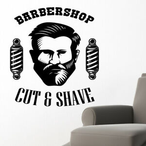 Barber Shop wall sticker hipster beard graphics quote decal art bb41