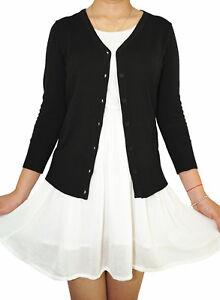 Women-Fitted-Cardigan-V-Neck-3-4-Sleeve-Vintage-Soft-Knit-Basic-amp-Plus-Size