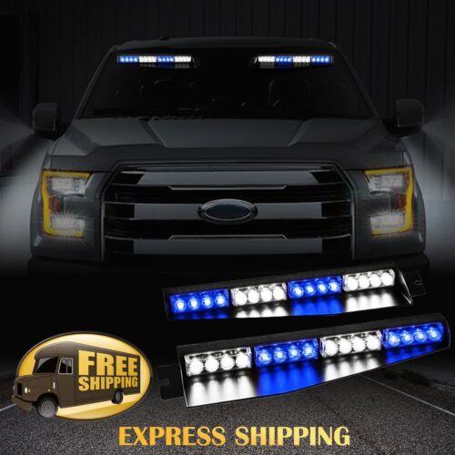 """34/"""" 32LED Car Emergency Warning Visor Split Deck 12V Strobe Light Bar Blue White"""
