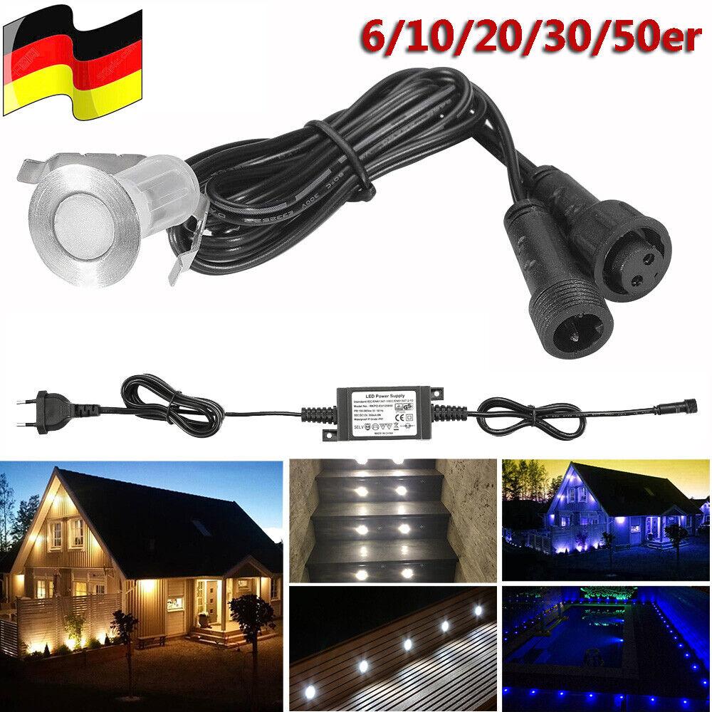 10-50x Set 0,4W Boden Einbaustrahler LED Leuchte Außenlampe Minispot Wasserdicht