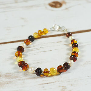 Genuine-Natural-Baltic-Amber-Bracelet-Pearls-Cognac-Brown-Yellow-Silver-Beach