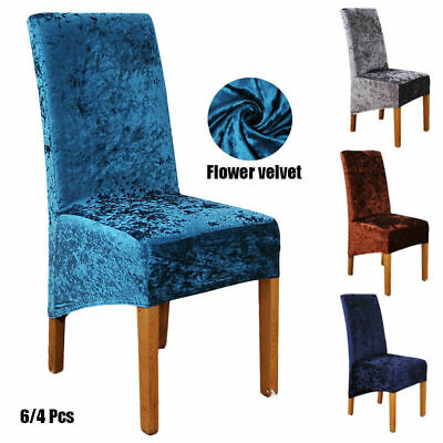 Noble Velvet Fabric Long Back Dining Chairs Covers Chair Protective Slipcover Uk Ebay