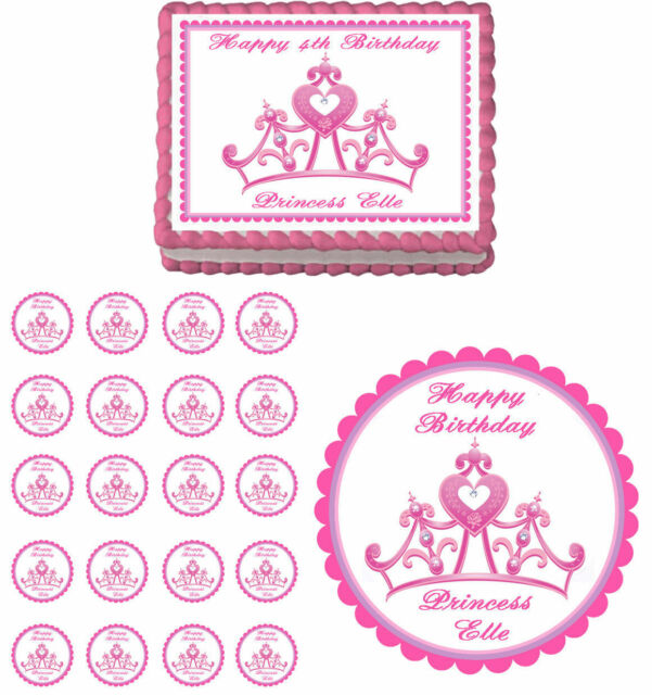 Princess Crown Edible Birthday Baby Shower Cake Cupcake Toppers Party Decoration