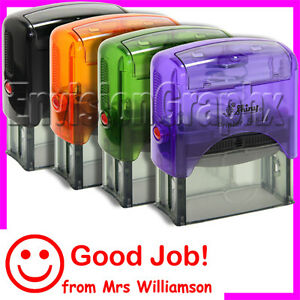 Custom-MESSAGE-Smiley-Face-Self-Inking-Rubber-Stamp-Shiny-S844-for-teachers