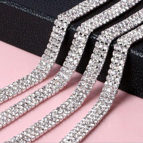 1-row//2-row//3-row 1 Yard Fashion DIY Silver Crystal Rhinestone Close Chain Trim