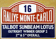 1981 Rally de Monte Carlo Talbot Sunbeam Lotus / Motorsport Sticker Decal